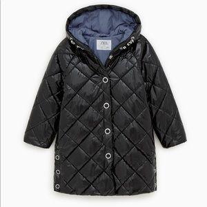 Zara Girls Vinyl Puffer Jacket
